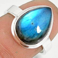 6.48cts natural blue labradorite 925 silver solitaire ring jewelry size 7 r77622