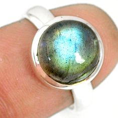 5.23cts natural blue labradorite 925 silver solitaire ring jewelry size 7 r77660