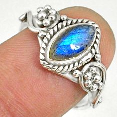 2.41cts natural blue labradorite silver solitaire handmade ring size 7 r82138