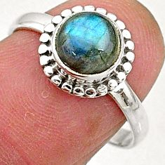 2.50cts natural blue labradorite 925 silver solitaire ring jewelry size 7 t5082