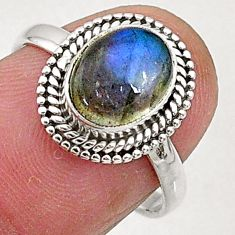 3.05cts natural blue labradorite 925 silver solitaire ring jewelry size 7 t5083