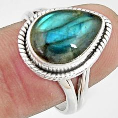 6.31cts natural blue labradorite 925 silver solitaire ring jewelry size 8 r22122