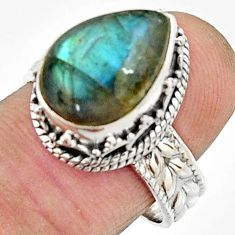 7.36cts natural blue labradorite 925 silver solitaire ring jewelry size 8 r22285