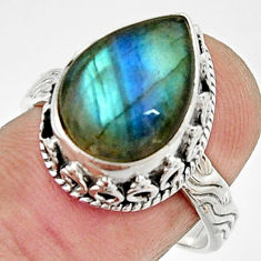 5.78cts natural blue labradorite 925 silver solitaire ring jewelry size 8 r22289