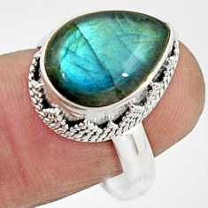 6.32cts natural blue labradorite 925 silver solitaire ring jewelry size 8 r22291