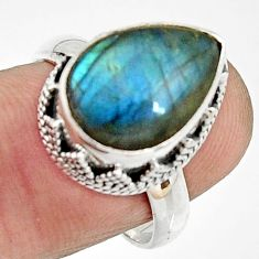 6.34cts natural blue labradorite 925 silver solitaire ring jewelry size 8 r22292