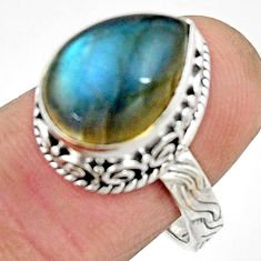6.68cts natural blue labradorite 925 silver solitaire ring jewelry size 8 r22294