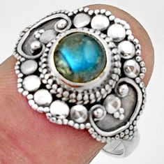 2.53cts natural blue labradorite 925 silver solitaire ring jewelry size 8 r22483