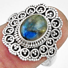 3.19cts natural blue labradorite 925 silver solitaire ring jewelry size 8 r22485