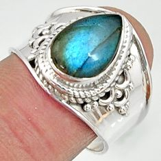 4.52cts natural blue labradorite 925 silver solitaire ring jewelry size 8 r22616