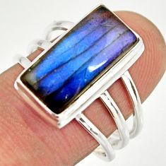 6.74cts natural blue labradorite 925 silver solitaire ring jewelry size 8 r27139