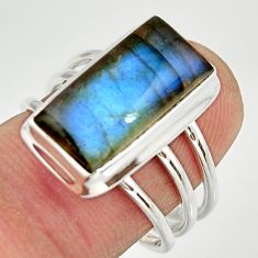 6.56cts natural blue labradorite 925 silver solitaire ring jewelry size 8 r27140