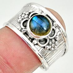2.34cts natural blue labradorite 925 silver solitaire ring jewelry size 8 r34658