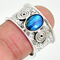 2.12cts natural blue labradorite 925 silver solitaire ring jewelry size 8 r34697