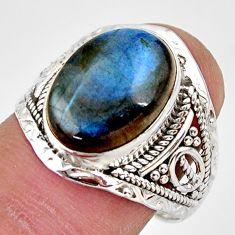 6.38cts natural blue labradorite 925 silver solitaire ring jewelry size 8 r35375