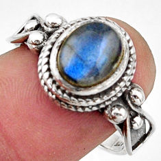 3.52cts natural blue labradorite 925 silver solitaire ring jewelry size 8 r40956