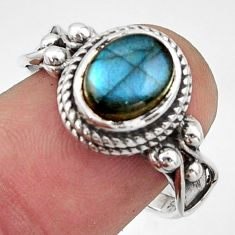 3.53cts natural blue labradorite 925 silver solitaire ring jewelry size 8 r40957