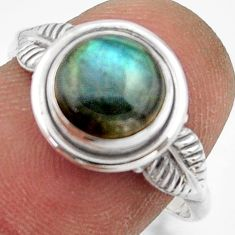 2.98cts natural blue labradorite 925 silver solitaire ring jewelry size 8 r41516