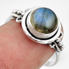 3.17cts natural blue labradorite 925 silver solitaire ring jewelry size 8 r41589