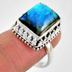 5.32cts natural blue labradorite 925 silver solitaire ring jewelry size 8 r53717