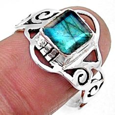 2.81cts natural blue labradorite 925 silver solitaire ring jewelry size 8 r54439