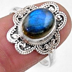 4.22cts natural blue labradorite 925 silver solitaire ring jewelry size 8 r54493