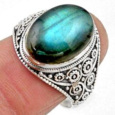6.02cts natural blue labradorite 925 silver solitaire ring jewelry size 8 r54636