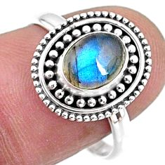 2.11cts natural blue labradorite 925 silver solitaire ring jewelry size 8 r57436