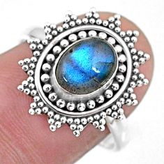 2.20cts natural blue labradorite 925 silver solitaire ring jewelry size 8 r57454