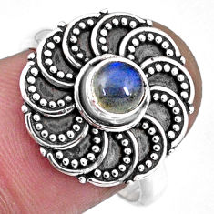 0.88cts natural blue labradorite 925 silver solitaire ring jewelry size 8 r57896