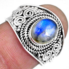 3.48cts natural blue labradorite 925 silver solitaire ring jewelry size 8 r57960