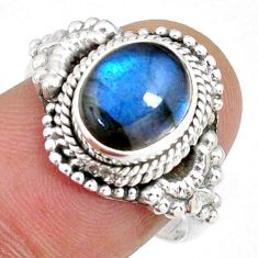 3.48cts natural blue labradorite 925 silver solitaire ring jewelry size 8 r58197