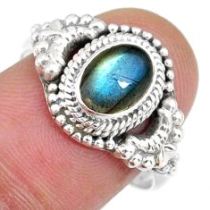 1.94cts natural blue labradorite 925 silver solitaire ring jewelry size 8 r58200