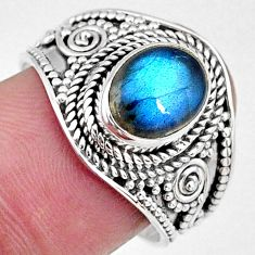 3.26cts natural blue labradorite 925 silver solitaire ring jewelry size 8 r58551