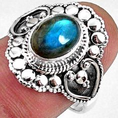 3.01cts natural blue labradorite 925 silver solitaire ring jewelry size 8 r61133
