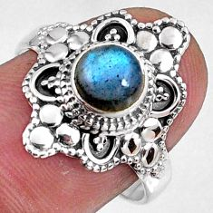 1.45cts natural blue labradorite 925 silver solitaire ring jewelry size 8 r61136