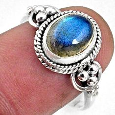3.12cts natural blue labradorite 925 silver solitaire ring jewelry size 8 r64807