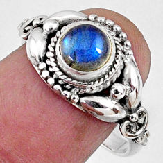 1.30cts natural blue labradorite 925 silver solitaire ring jewelry size 8 r64868