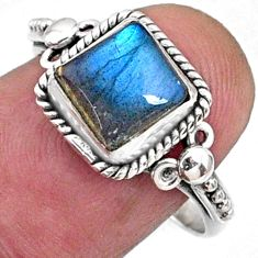 2.27cts natural blue labradorite 925 silver solitaire ring jewelry size 8 r64913