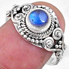 1.25cts natural blue labradorite 925 silver solitaire ring jewelry size 8 r64931