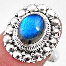 4.43cts natural blue labradorite 925 silver solitaire ring jewelry size 8 r65166