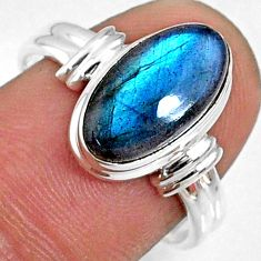 4.47cts natural blue labradorite 925 silver solitaire ring jewelry size 8 r66342