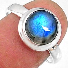 4.16cts natural blue labradorite 925 silver solitaire ring jewelry size 8 r66365