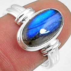 4.69cts natural blue labradorite 925 silver solitaire ring jewelry size 8 r66373