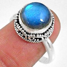 5.38cts natural blue labradorite 925 silver solitaire ring jewelry size 8 r66403