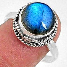 5.87cts natural blue labradorite 925 silver solitaire ring jewelry size 8 r66405