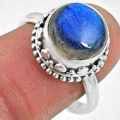 5.84cts natural blue labradorite 925 silver solitaire ring jewelry size 8 r66406