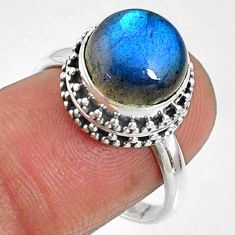 5.84cts natural blue labradorite 925 silver solitaire ring jewelry size 8 r66416