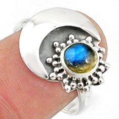 1.55cts natural blue labradorite 925 silver solitaire ring jewelry size 8 r67399