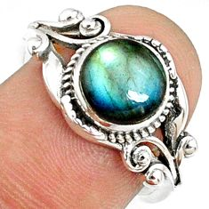 3.11cts natural blue labradorite 925 silver solitaire ring jewelry size 8 r68935